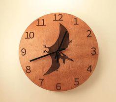 Pteranodon laser cut clock Dinosaur clock Wood clock Wall