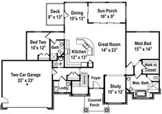 Eliminate the second bedroom and open up the kitchen/great room more.  And a larger laundry