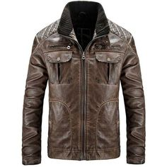 Mens Distressed Quilted Jacket - Waxed Brown Leather Jacket - Ujackets ❤ liked on Polyvore featuring men's fashion, men's clothing, men's outerwear, men's jackets, mens jackets, mens distressed leather jacket, mens quilted leather jacket and mens brown quilted jacket
