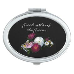 Antique Roses Wedding Grandmother of the Groom Compact Mirror