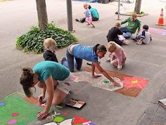 Sidewalk Chalk - This would be a cute end of school year  activity. Draw a grid & give each student a square to draw & color in. Spaced out so they have a place to sit.