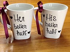 Customizable Set of His & Her Porcelain Mugs by InKaceYoureLooking, $40.00