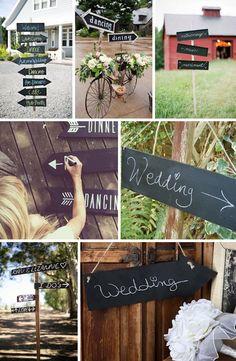 Drogowskazy ślubne inspirowane czarną tablicą kredową