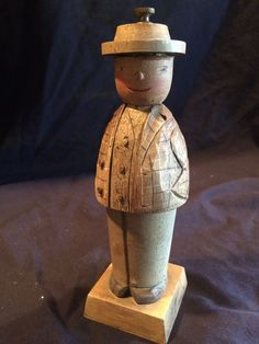 Vintage Pepper Mill Grinder Wooden Man