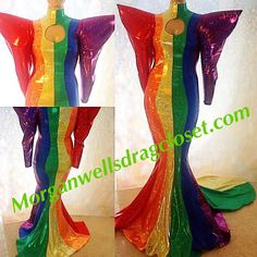 These dresses, and outfits feature all flags. Gay pride, Trans gender, or USA Drag Queen Outfits, Rainbow Outfit, Rainbow Clothes, Flag Dress, Morgan Dress, Pride Colors, Pride Outfit, Big Shoulders, Red Carpet Gowns