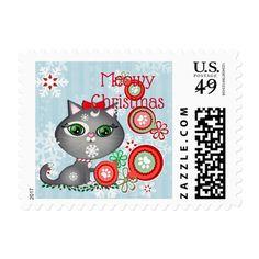 Christmas Kitty Cat Custom Postage Stamps #christmas #postage #stamps