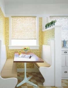 grad school house love the use of just a little bit of wallpaper, plus kitchen nook Kitchen Breakfast Nooks, Kitchen Nook, Kitchen Booths, Kitchen Seating, Kitchen Benches, Vintage Wallpaper, Of Wallpaper, Kitchen Wallpaper, Cute Kitchen