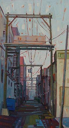 """""""Fog Near Market,"""" by Rene' Wiley by Rene' Wiley Gallery Oil ~ 36 x 18"""