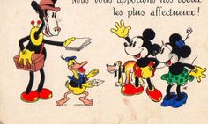 Vintage old postcard France WALT DISNEY:Mickey and Minnie Mouse, Donald Duck...