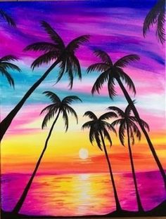 What is Your Painting Style? How do you find your own painting style? What is your painting style? Is there a way to make sure you have it? Summer Painting, Easy Canvas Painting, Simple Acrylic Paintings, Easy Paintings, Sunset Paintings, Beach Sunset Painting, Paradise Painting, Sunset Beach, Beach Art