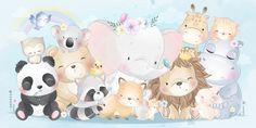 Watercolor cute hot air balloon with elephant bear raccoon bunny moon birds Illustration Tutorial, Panda Illustration, Watercolor Illustration, Animals Watercolor, Watercolor Mermaid, Cute Baby Penguin, Cute Bunny, Boat Cartoon, Cute Cartoon
