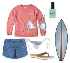 """""""Cold day on the beach"""" by guccilean on Polyvore featuring Hollister Co., Lauren B. Beauty, Sperry, NIKE, Melissa Odabash and WALL"""