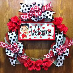 SALE - Betty Boop Red White Black Kisses Hearts - Welcome Door Grapevine Wreath
