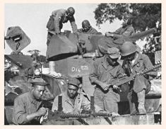 """The 761st Tank Battalion was an independent tank battalion of the United States Army during World War II. The 761st was made up primarily of African-American soldiers, who by federal law were not permitted to serve alongside white troops; the Army did not officially desegregate until after World War II. They were known as the Black Panthers after their unit's distinctive insignia; their motto was """"Come out fighting""""."""