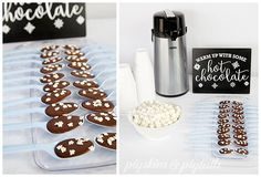 Polar Bears & Penguins Hot Chocolate Bar from Pigskins & Pigtails Winter Birthday, It's Your Birthday, Birthday Party Themes, 7th Birthday, Birthday Ideas, Polar Bear Party, Penguin Party, Penguins And Polar Bears, Bear Theme