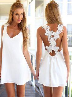 Free Express Delivery! Women Summer Sexy V Neck Lace Strap Chiffon Backless Sleeveless Dress SKU212826