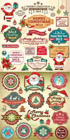 2 Set of vector cartoon style retro Merry Christmas label templates, badges designs and frames with Santa Claus illustrations, Christmas trees, snowman, snowflakes, toys and holiday Christmas letterings for your Xmas greeting cards, postcards, banners, labels or other graphic designs.…