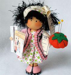 Items similar to Clothespin Doll Seamstress Pegtales Cr Doll Clothes Patterns, Doll Patterns, Clothespin Art, Wood Peg Dolls, Clothes Pegs, Tiny Dolls, Waldorf Dolls, Doll Crafts, Craft Stick Crafts