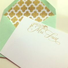 "Mint and gold ""soon to be Mrs."" notecards for a newly engaged bride-to-be I Custom by Nico and Lala"