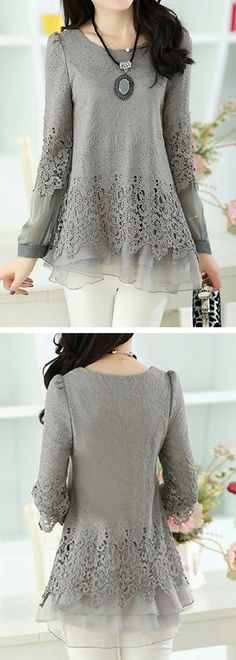 Layered Long Sleeve Lace Panel Grey Blouse.