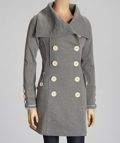 Another great find on #zulily! Knitted Dove Gray My Lost Love Double-Breasted Coat by Knitted Dove #zulilyfinds