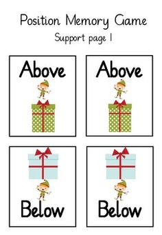 Free!  Holiday Positional Memory Game. Repinned by SOS Inc. Resources. Follow all our boards at pinterest.com/sostherapy/ for therapy resources.