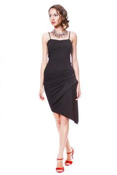 Rena  Dress - Asymmetric Black Tango Dress with Strappy Bodice Front and Side Rouge from adelynsf