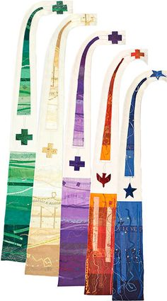 If I ever learn to sew, it will be to make a plain simple stole that I can then paint on, glue on, glitter on to my heart's content. I love these stoles, but can't bring myself to spend this kind of money.