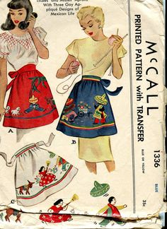 McCall 1336 Vintage 40s  Apron pattern with Mexican by bellaloona, $9.00