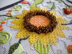 Robin here. Thought I'd wrap up our conversation on Beading. So far we've talked about Stitch Beading and Bricked Beading. Bead Embroidery Patterns, Embroidery Needles, Ribbon Embroidery, Beading Patterns, Embroidery Art, Needlepoint Stitches, Needlepoint Patterns, Needlepoint Canvases, Needlework