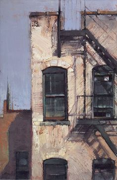 """Black Windows & Fire Escape"" 36 x 24. Oil on canvas. Jill Soukup. $5,650"