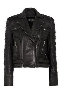 Balmain | Lace up-detailed textured-leather biker jacket | NET-A-PORTER.COM