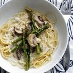Roasted Asparagus and Mushroom Pasta in a Lemon- Cream Sauce