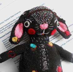 Original art doll folk art hand made Funny black bunny OOAK from miliaart studio