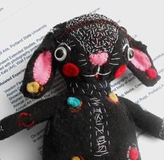Original art doll folk art hand made Funny black bunny by miliaart, $30.00