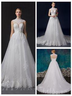 Beaded High Neckline A-line Wedding Dress