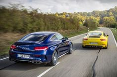 The differences between the C63 S Coupe and the 911 Carrera S that we're hustling through the Löwenstein hills couldn't be more profound. The most extreme contrasts include the position of the engine, the number of cylinders and their displacement, and the type of transmission. And, of course, the price.