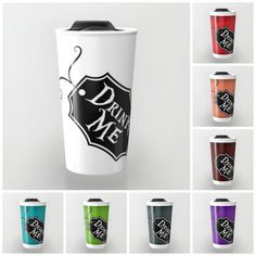 "Alice in Wonderland Tim Burton Style Travel Mug - ""Drink Me"" Coffee Mug - Travel Cup, Gifts for Coffee Lovers , Gifts under 20"