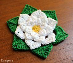 """This flower is 9 rounds and measures about 2 1/2"""". The thread I used is Aunt Lydias size 10 thread in the colors maize, white, and ..."""