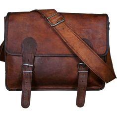 16x12x5 Leather Messenger Bag Shoulder Bag Laptop Macbookbag Handmade... ❤ liked on Polyvore