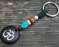 Om Keychain,Gemstone Wood Beads Keyring,Aum,Yoga Keychain,Macrame Friendship,Hemp Keychain,Handmade Keychain,Good Luck,Ethnic Keychain