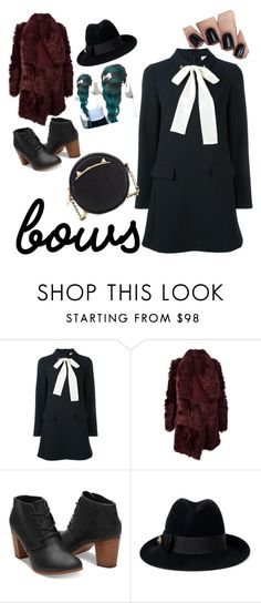 """""""Bows"""" by sunnyblite ❤ liked on Polyvore featuring RED Valentino, Meteo by Yves Salomon, Gucci and Betsey Johnson"""