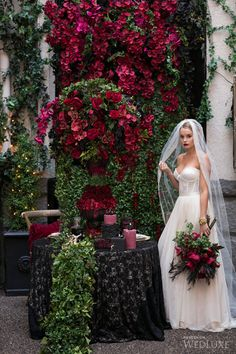 WedLuxe – A Bordeaux-Hued, Gothic-Inspired Shoot- Wedding Inspiration | Photography by: Sweet Pea Photography Follow @WedLuxe for more wedding inspiration!