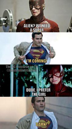 SuperFlash Fanfiction - Where's Supergirl? Kara Danvers Supergirl, Supergirl Tv, Supergirl And Flash, Funny Disney Memes, Stupid Funny Memes, Funny Laugh, Superhero Shows, Superhero Memes, Marvel Jokes