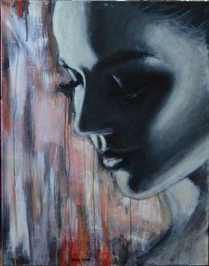 "Saatchi Online Artist: Maria Folger; Acrylic, 2013, Painting ""pensativa SOLD"""