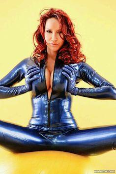 Bianca beauchamp blue latex catsuit