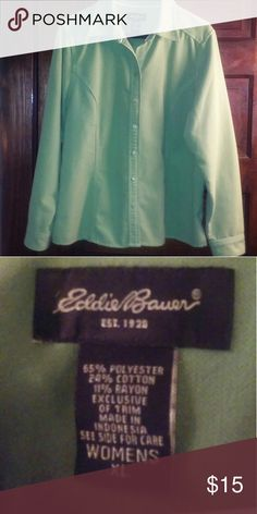 Jacket Beautiful spring green Eddie Bauer jacket. Soft comfy fabric of 65 polyester, 24 % cotton and 11% rayon. Tapered waistline. Eddie Bauer Jackets & Coats