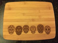 Day of the Dead Sugar Skull Cutting in by HBEngravers Kitchen Items, Kitchen Gadgets, Kitchen Decor, Sugar Skull Decor, Sugar Skulls, Goth Home, Day Of The Dead Skull, Candy Skulls, Skulls And Roses
