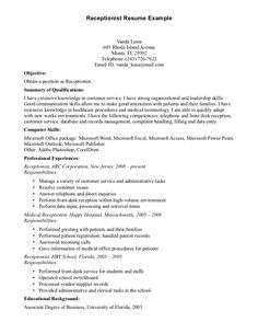 receptionist duties cv