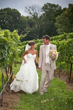 I love everything about this...The vineyard, the dress, the light colored suit